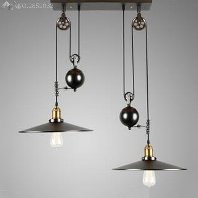 Lifting Pendant Lights Black Lamplanpshade With Mirror Modern Minimalist Pulley Lamps Re Pendente De