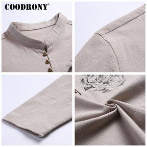 Image 5 - COODRONY Chinesischen Stil Stehkragen T Shirt Männer Langarm Baumwolle T Shirt Männer Kleidung 2018 Leinen T Hemd Homme T shirt t006