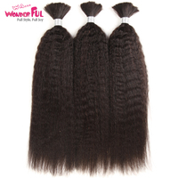 WAWonderful Kinky Straight Human Braiding Hair Bulk Bundle No Weft 100% Coarse Yaki Bulk Hair For Braiding10 30