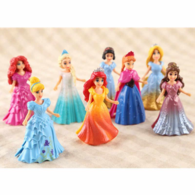 Disney 8pcs/set Magic Clip Dolls Dress Magiclip Princess Figurines Statue  Snow White Elsa Anna PVC Action Figures Kids Best Toys