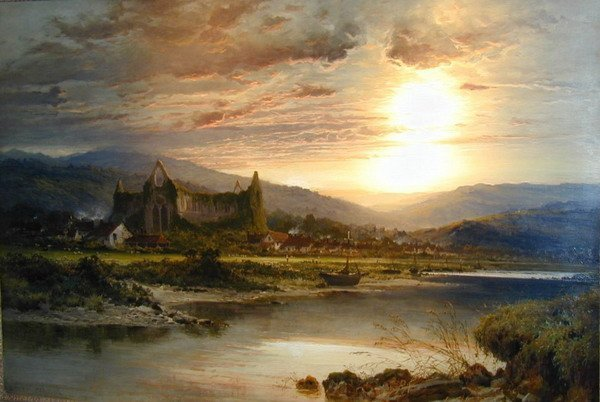 Free shipping 100% hand-made high quality oil painting reproduction landscape (Tintern Abbey) Benjamin Williams Leader