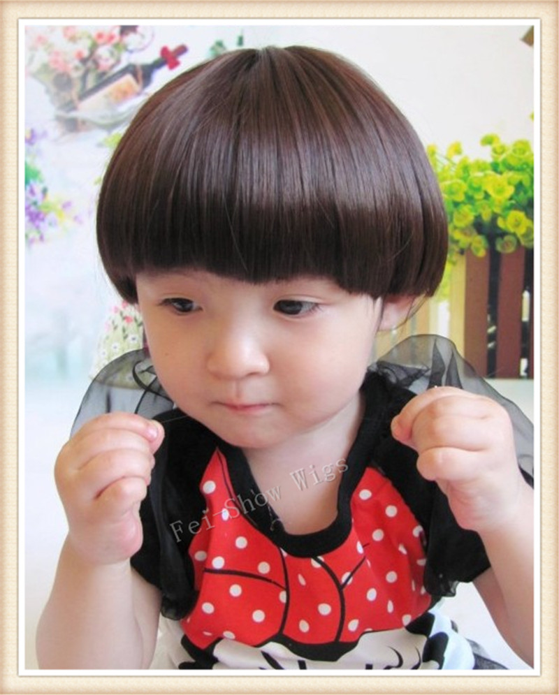Synthetic 30 30 Years Old Children Wig Dark Brown Girls Cosplay