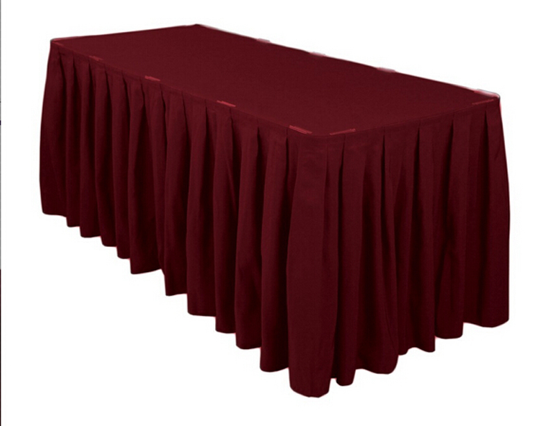 HK DHL Burgundy Accordion Pleat Polyester Rectangular 14 ft./420cm Table Skirt for Wedding, 5/Pack