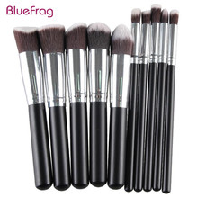 BLUEFRAG Pro Makeup Brushes Tools Pinceis De Maquiagem Wood Metal Synthetic Hair Palette For Makeup Brush 10Pcs/Set BLMB09212
