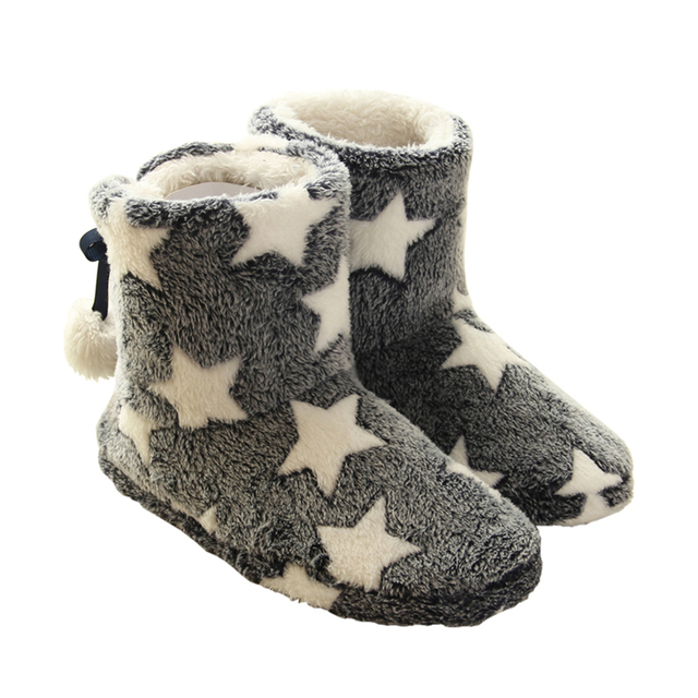 Cute Star Pattern Winter Women Warm Home Slippers For Indoor House Bedroom Thick Plush Floor Shoes Pantufa
