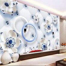Beibehang Benutzerdefinierte 3d Tapeten Wandbilder Wohnzimmer Schlafzimmer  Mode Lotus Blumen 3D Wallpaper TV Hintergrund Wand Wo.