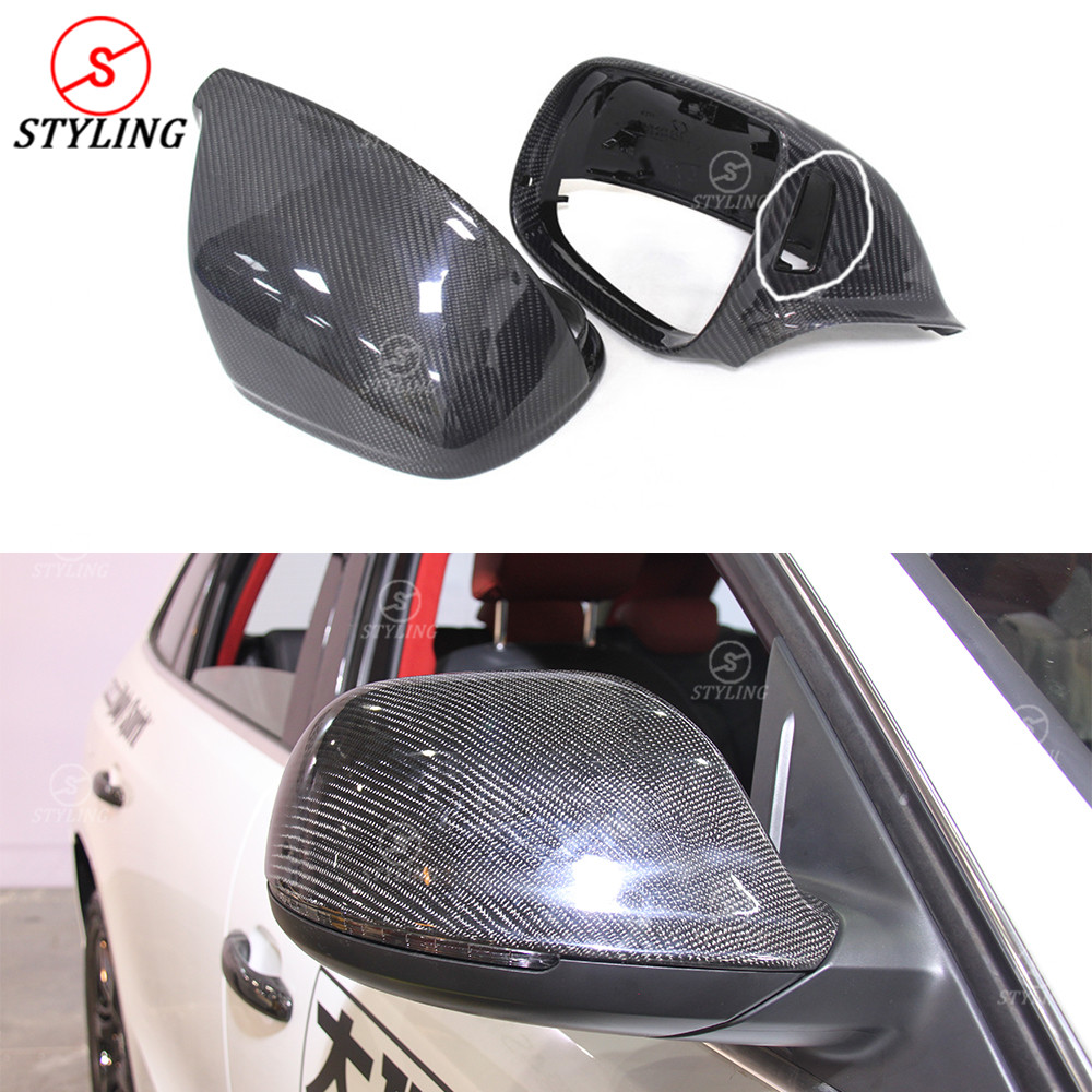 For Audi SQ5 Q5 Q7 carbon fiber rear side caps view mirror Replacement with lane assist Q5 Carbon mirror cover Gloss Black 2009+