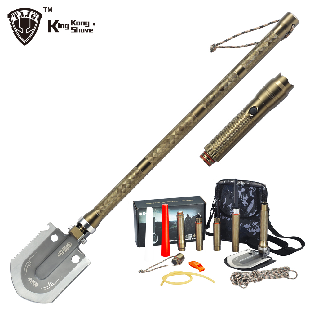 Survival Shovel Snow with Flashlight Folding Camping Shovels Spade Emergency Garden Hiking Outdoor Tactical Car Tool Gift foldable shovel multifunctional camping military tactical survival outdoor garden tools manganese steel selfdefense tool quality