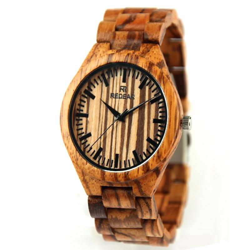 ФОТО TOP Brand Men's Watches Wooden Wristwatches with Wood Strap Analog Quartz Watch Men's Relogio Masculino
