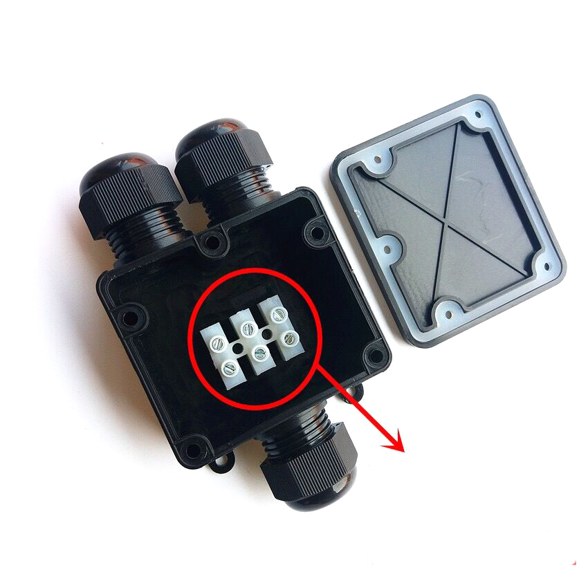New Junction Box 3 Way Plastic Waterproof Electrical Junction Box Cable Wire Connector IP68|Connectors| |  - title=