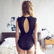2018 Sexy Lace Elastic Slim Sleeveless Backless Bodysuit Summer Beach Bodysuits Women Deep V-Neck Female Black White Body Suit