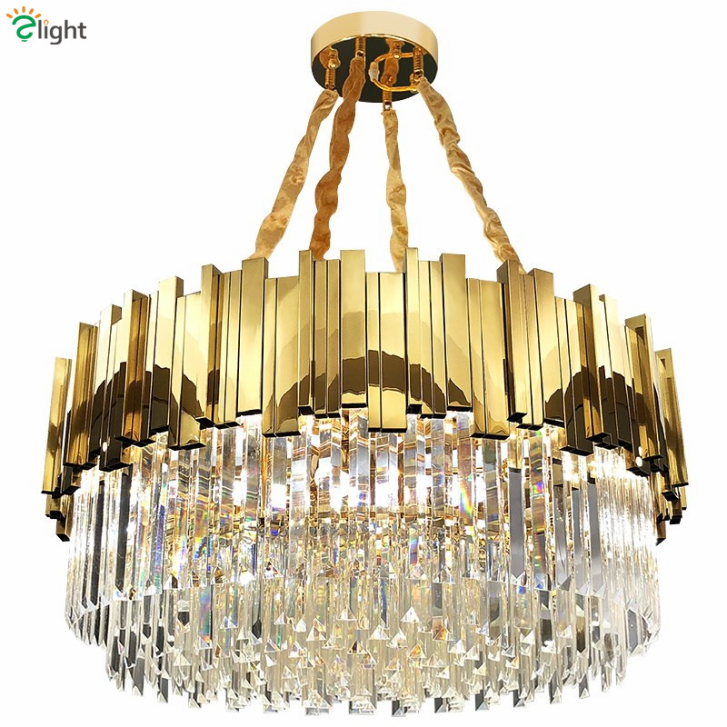 Living Room Luxury Gold Steel Round Lustre K9 Crystal Led Pendant Lights Luminaria Hanging Lamp Indoor Lighting Lamparas Fixture
