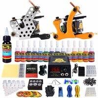 Solong Tattoo Complete Tattoo Kit 2 Coil Machine Gun Set 14 Inks Power Supply needles Tips TK212