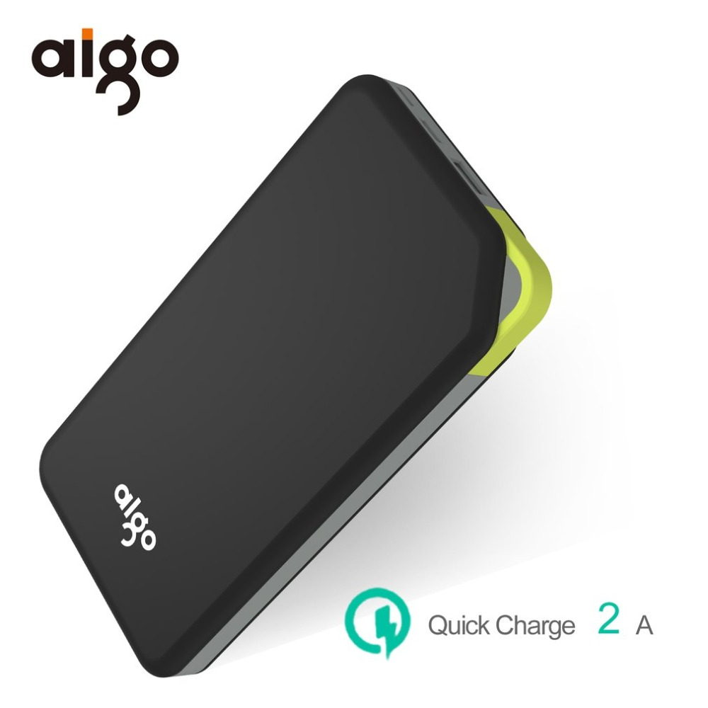 Aigo 10000mAh Power Bank Portable USB & Type-C Powerbank Ultra Thin Mobile Phone External Battery Power Supply Charger Poverbank