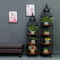 American Style Wrought Iron Storage Rack Creative Home Flower Stand Retro Bird Cage Rack Ornaments Display Shelf Decoration