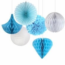 Happy Valentines Day 6pcs Blue& White Paper Crafts Kit Wedding Home Hanging Birthday Party Decoration