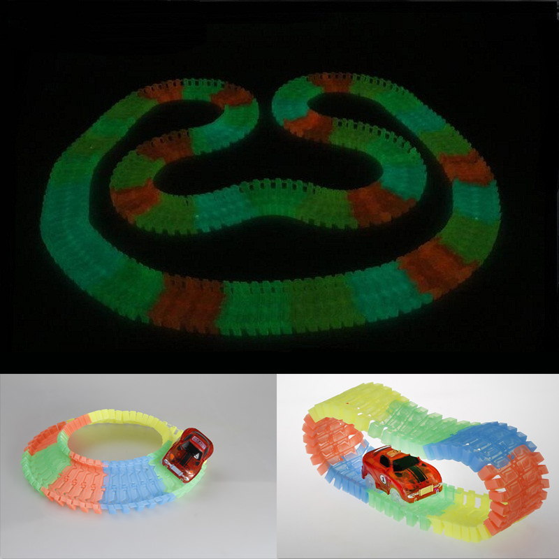 Electronics Car Flashing Lights Glowing Race Track Car 5 LED Lights Glowing Track Boys&Girls Educational Toy For Children glow race track bend flex glow in the dark assembly toy 112 160 256 300pcs slot race track 1pc led car puzzle educational toys