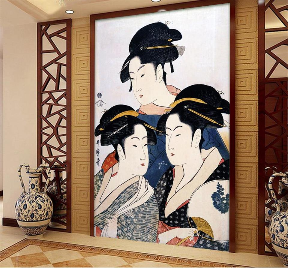 custom photo mural living room porch 3d wallpaper three Japanese beauty oil painting picture wall murals wallpaper for walls 3d 3d room wallpaer custom mural non woven photo natural scenery forest trees painting 3d wall murals wallpaper for walls 3d