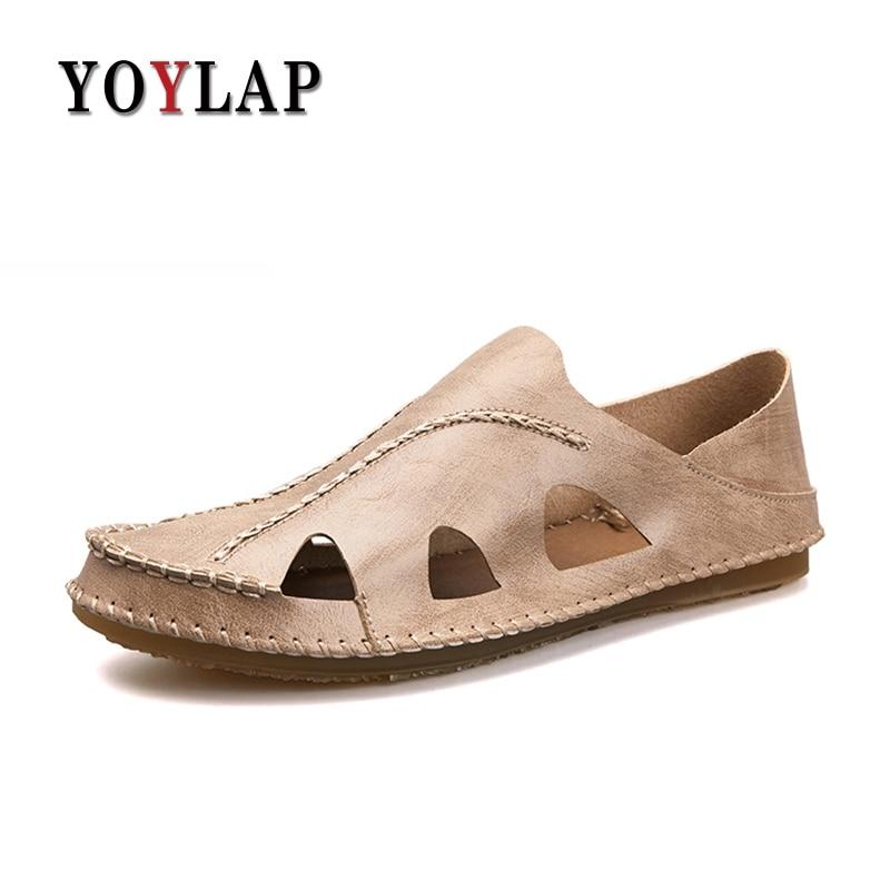 Yoylap Genuine Leather Summer Shoes Men Sandals Fashion Male Sandalias Beach Shoes Soft Bottom Breathable