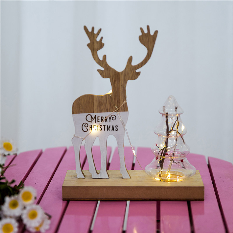 wooden Christmas elk decorative lighting party birthday wedding decoration luminous wooden pendulums Antique finish in Holiday Lighting from Lights Lighting