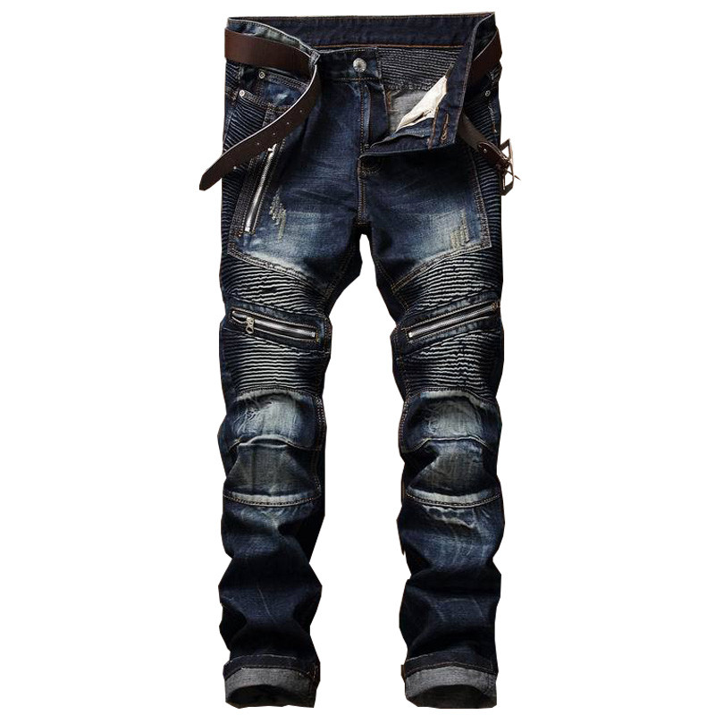 2018 Men's Pleated Biker Jeans Pants Slim Fit Brand Designer Denim Trousers For Male Straight Washed Multi Zipper