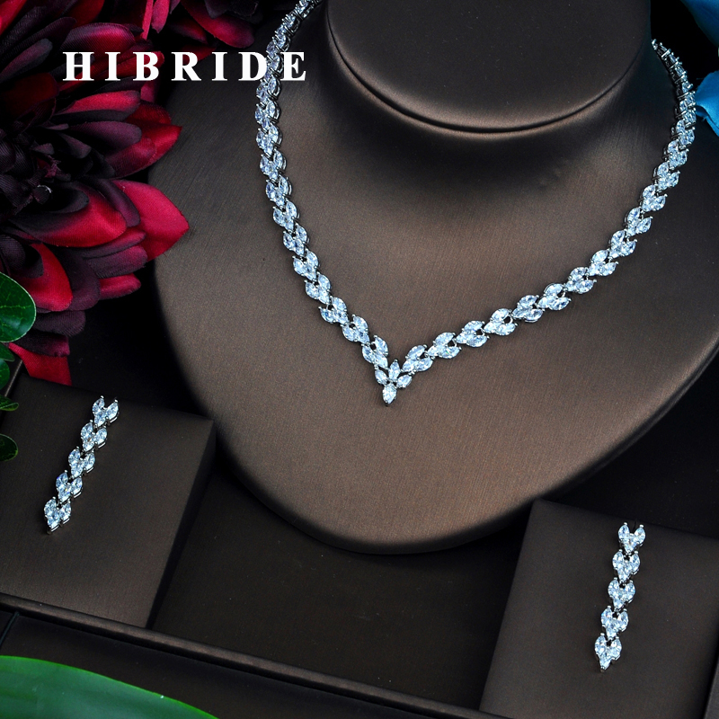 HIBRIDE Brilliant Marquise Cut Clear CZ Dubai Jewelry Sets For Women Necklace Set Wedding Dress Accessories Birthday Gifts N-468HIBRIDE Brilliant Marquise Cut Clear CZ Dubai Jewelry Sets For Women Necklace Set Wedding Dress Accessories Birthday Gifts N-468