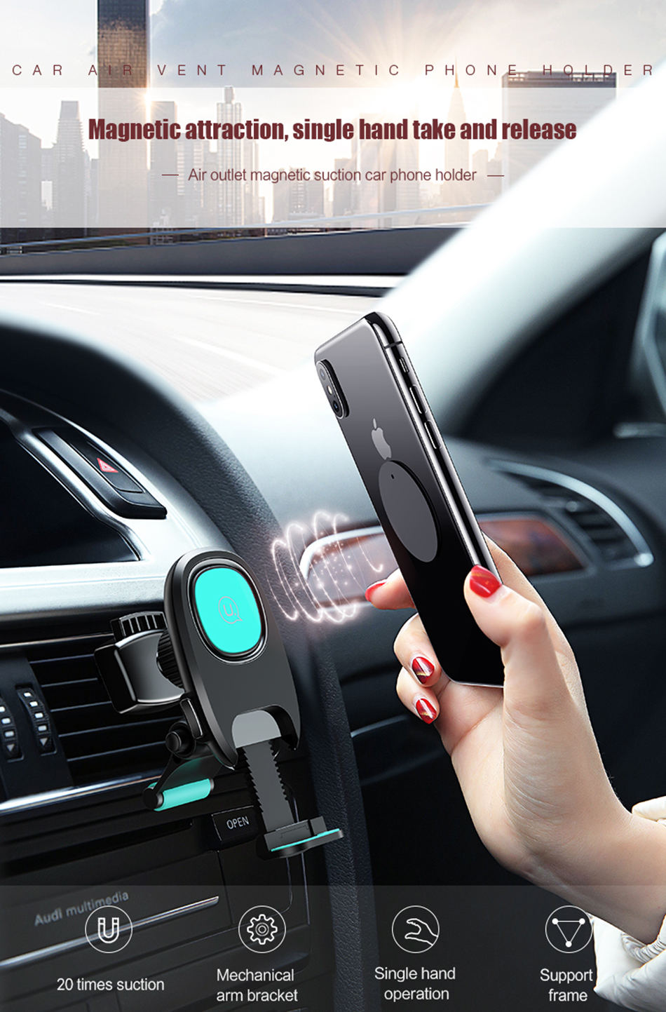 Usams Magnetic Phone Car Holder Air Vent Mount Flexible Automotive Outlet Sucker Mobile For Iphone 6 Sumsung 360 Degree Ratotable Soporte Movil Stand