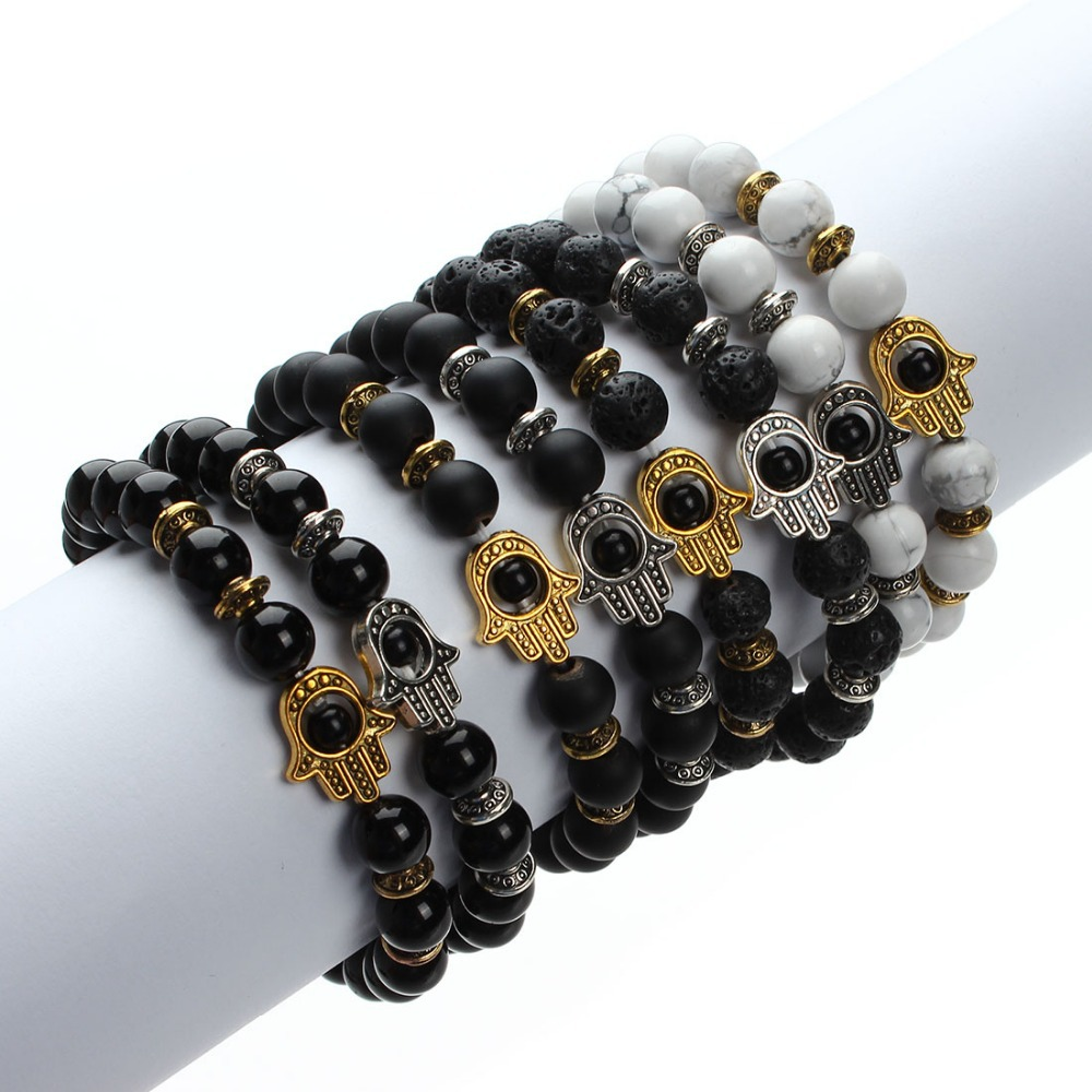 XINYAO 2017 Natural Stone Black Lava Beads Bracelet Men Gold Color Hamsa Hand Charm Energy Yoga Mala Bracelets For Women F2830