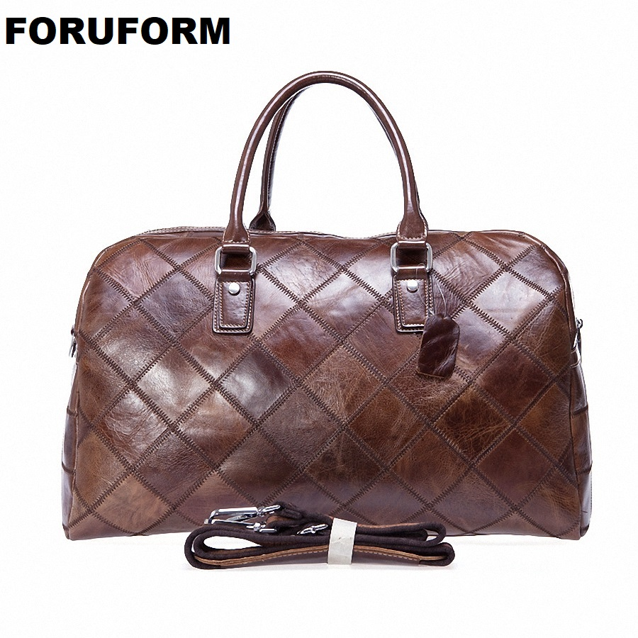 Men Travel Bag Multifunction Men 100% Genuine Leather Travel Bag Big Capacity Shoulder Handbag Tote Bag For Business Man LI-1952