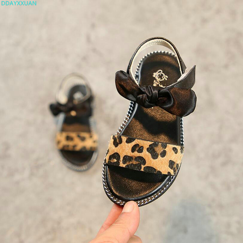 New Fashion Leopard Print Children Sandals Girls Summer Shoes Bowknot Flat Sandals Kids Girls Shoes