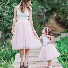 2018 Midi Mesh Fluffy Soft Tulle Tutu Skirts For Mommy and me tulle skirt Outfits Mother Daughter Tulle Jupe Clothes Costume