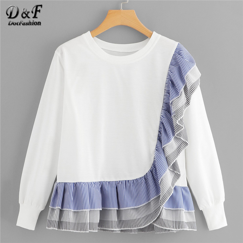 Dotfashion Ruffle Hem Striped Sweatshirt Women 2019 Casual Autumn Clothing Long Sleeve Spring Womens Sweatshirts Pullovers