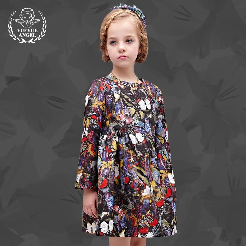 New 2018 Hot Children Fashion Kinderkleding Meisjes Girls Spring Floral Dress Princesses Cotton Short Kid's Jurken For Menina