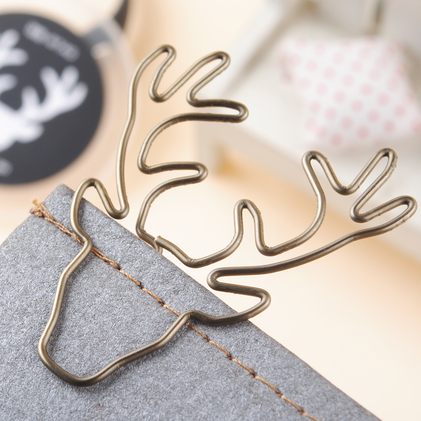 8PCS/Lot  Vintage Deer Clip Metal Paper Clips Bookmark Pin Karea Stationery Cinnamon Office Accessories Memo Clips deli new colorful candy paper clips 200pcs a barrels office stationery metal clips box pin binding supplies learn student clips