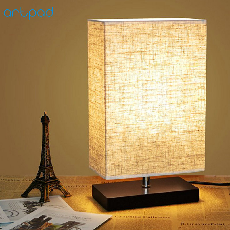 Artpad Minimalism Bedroom Bedside Lamp for Table Rectangle Cloth Lampshade AC 90-260V Stand Desk Light for Living Room Decor