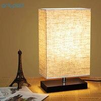 Artpad Minimalismus Schlafzimmer Nachttischlampen für Tisch Rechteck Tuch Lampenschirm AC 90-260 V Stand Licht für Wohnzimmer Room Decor