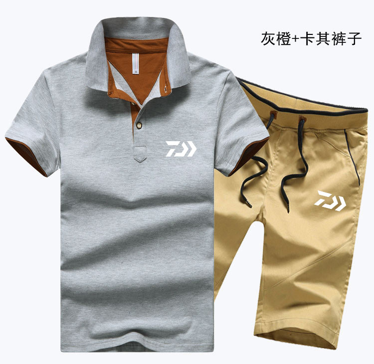 New Spring Summer Men Sportswear 2 Piece Set Outdoor DAIWA Fishing Clothing Set Quick Dry Sport Suit DAWA Fishing Shirts+Pants