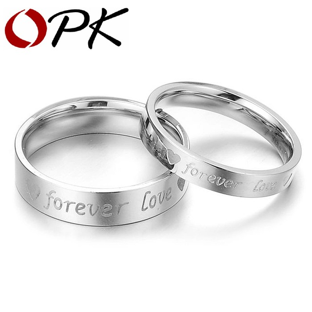 OPK JEWELRY Gift Box Packing NEW STYLE Titanium steel ring Lover Couple ring  030