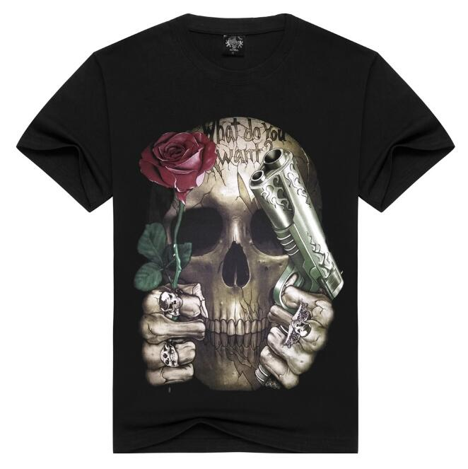 Dropshipping Guns N Roses Mens T Shirt Guns N Roses Skull Design 3D Printing shirts Rock Hip Hop Mens T shirt Tees Top