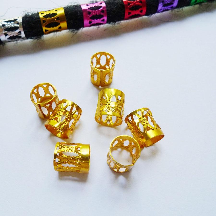 100 Teile / beutel Mix 7 Farben Goldene Silber Überzogene Dread - Haarpflege und Styling - Foto 3