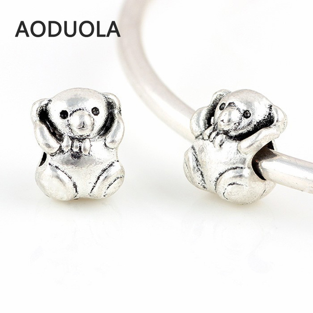 12 Pcs a Lot Silver Alloy Bead Bear Shape With Love DIY Big Hole Beads  Spacer 195465cb6298