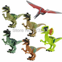 De venta único Mundo Jurásico dinosaurio Velociraptor película Pteranodon el dilofosaurio sea Juguetes de bloques de construcción para niños X0243