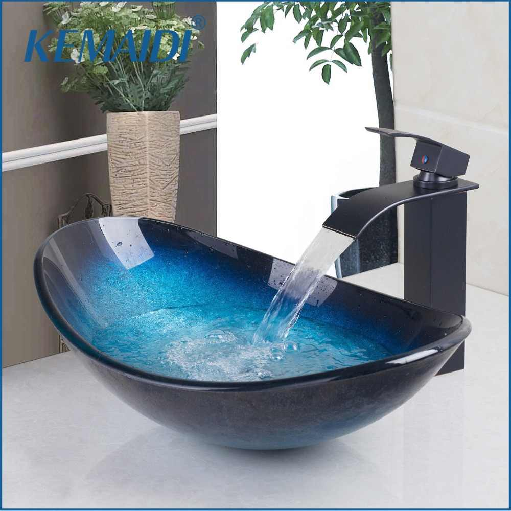 Kemaidi Waterfall Spout Basin Black Tap Bathroom Sink Washbasin Tempered Gl Hand Painted Bath