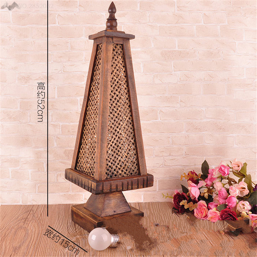 JW Southeast Asian Vintage Hollow Bamboo Table Lamps Wood Desk ...