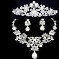 Перл Shinning Серебряный Кристалл Люкс Комплект Ювелирных Изделий Ожерелья Шарма Серьги Волосы Расческой Невеста Подарок Цветочные Свадебные Аксессуары