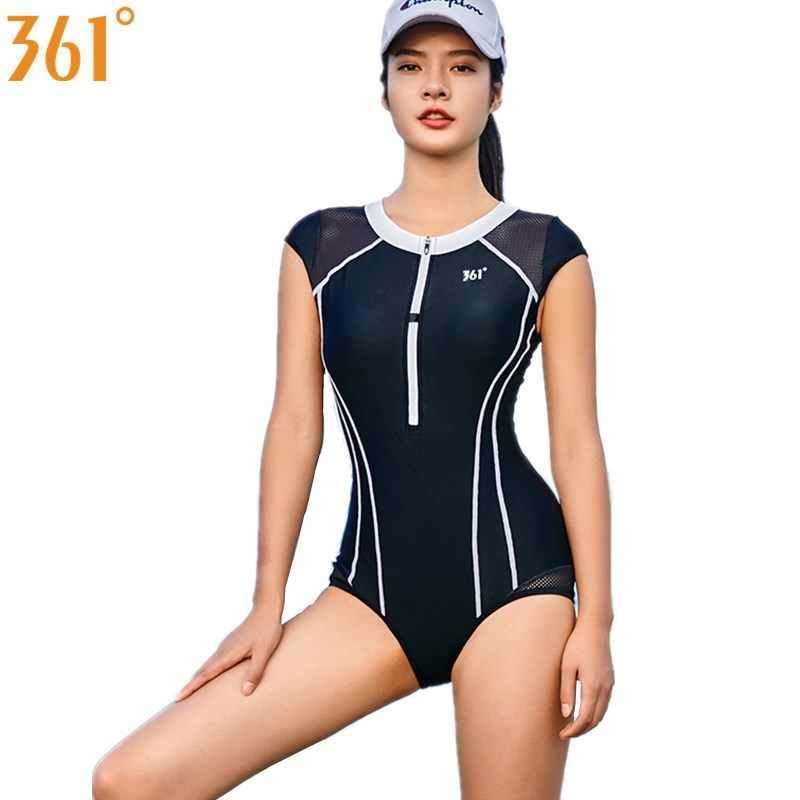 4a3791abc7240 Detail Feedback Questions about 361 Women Sports Swimwear Black One Piece  Swimsuit Wire Free Swim Suit Zipper Pool Swimming Suit Girl Bathing Suit  Female ...