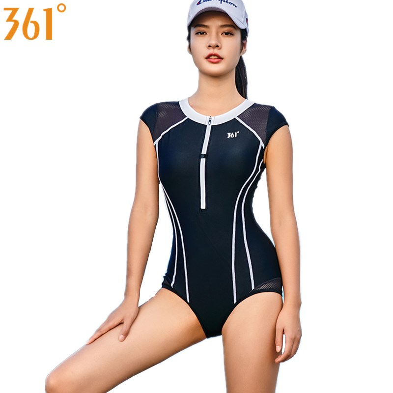 361 Women Sports Swimwear Black One Piece Swimsuit Wire Free Swim Suit Zipper Pool Swimming Girl Bathing Female Bather