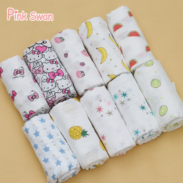 PINK SWAN 100% Cotton Muslin Blankets Bedding Infant Swaddle Towel Multifunct Envelopes For Newborns Swaddle Blankets Baby Wrap