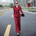 ( Jacket + Trousers ) 2 Piece Ladies Office Wear Suit Black Blue Red Womens Business Sets With Pants Formal Pant Suits For Women