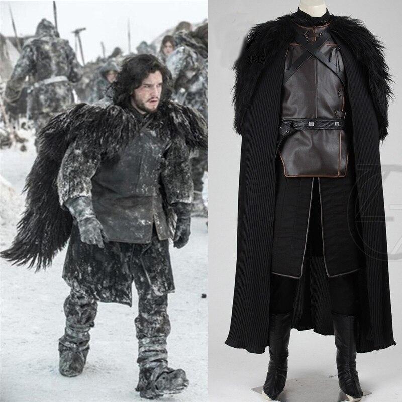 Diplomatico 2018 Game Of Thrones Costume Jon Snow Costume Vestito Con Il Cappotto Vestiti Di Halloween Degli Uomini Cosplay Costume Top + Mantello + Cintura + Gonna